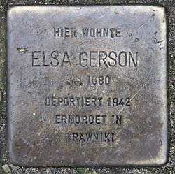 Photo of Elsa Gerson brass plaque