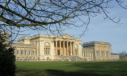 Neoclassical grandeur; Stowe House 1770-79 by Robert Adam modified in execution by Thomas Pitt Stowe House 04.jpg