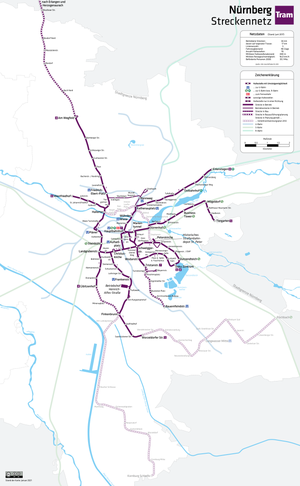 Trams in Nuremberg - Tramway network, 2012