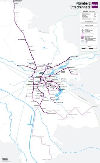 Trams in Nuremberg - Tramway network, 2012