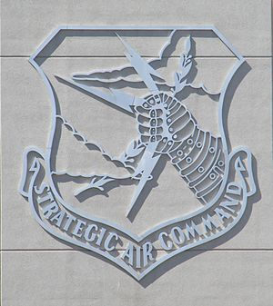 Strategic Air Command & Aerospace Museum - Strategic Air Command shield on exterior of museum