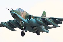 Sukhoi Su-25 of the Russian Air Force landing at Chernigovka Air Base.jpg