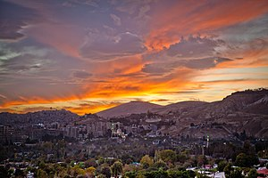 Şam: Sunset clouds in Damascus