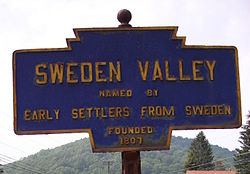 Keystone marker in Sweden Valley, a community within the township