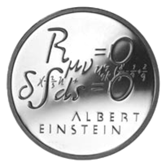 Einstein field equations - A Swiss commemorative coin from 1979, showing the vacuum field equations with zero cosmological constant (top).