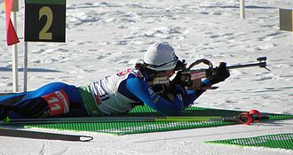 Biathlon - Prone position: Sylvie Becaert, Antholz 2010.