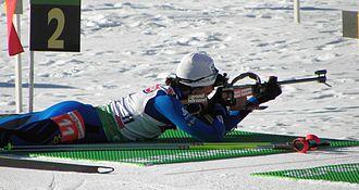 Biathlon - Prone position: Sylvie Becaert, Antholz 2010.
