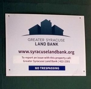 Land banking - Syracuse Land Bank sign, Syracuse, New York