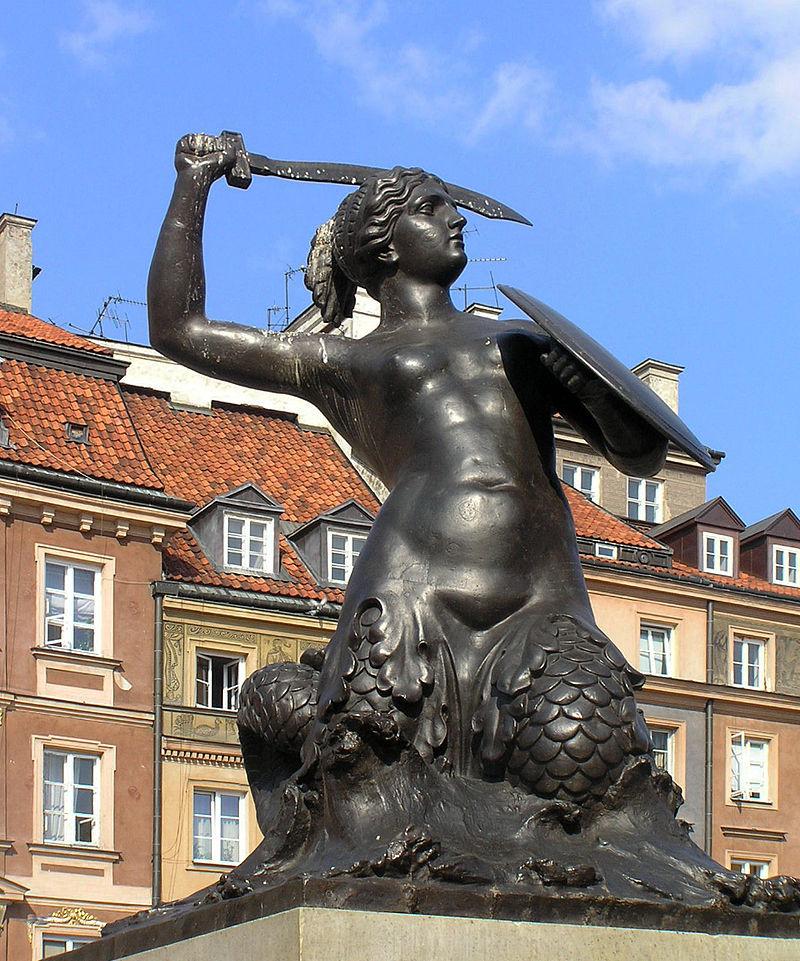 Posąg Syreny na tle strony Barssa Rynku Starego Miasta