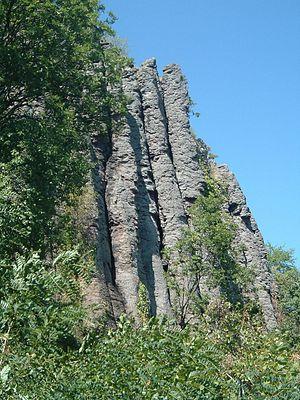 Basalt - Columnar basalt at Szent György Hill, Hungary