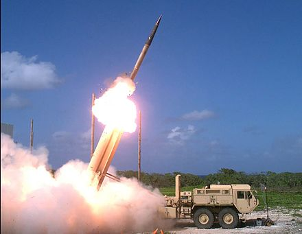 A Terminal High Altitude Area Defense (THAAD) interceptor is launched from a THAAD battery located on Wake Island, during Flight Test Operational (FTO)-02 Event 2a, conducted Nov. 1, 2015. THAAD missile launch on Wake Island.jpg