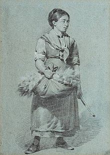 Chalk drawing of a girl with wool gatherings by thomas sewell robins