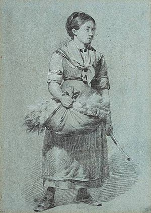 Thomas Sewell Robins - Chalk Drawing of a Girl with Wool Gatherings, by Thomas Sewell Robins