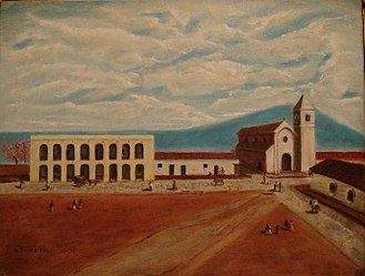 "San Miguel de Tucumán - ""Tucumán 1812"", by Gerardo Flores Ivaldi. The Cabildo and San Francisco church are displayed on the painting."