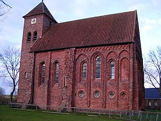 Church architecture - The 800-year-old Church of Termunterzijl in the north of the Netherlands