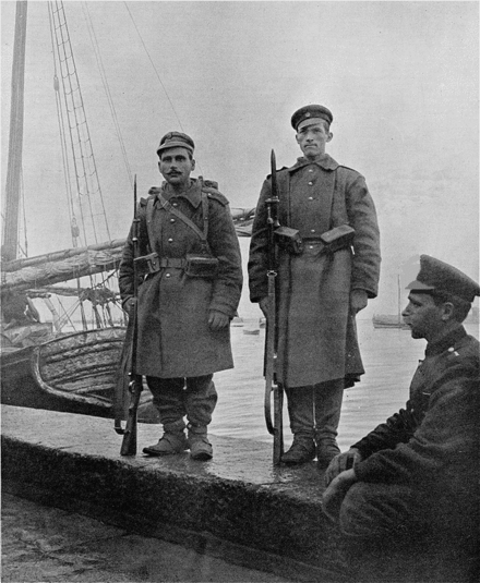 Photo of a Greek (left) and Bulgarian (right) sentry at the port of Thessaloniki, during the period of joint occupation prior to the outbreak of the war. The Allies of Yesterday.png