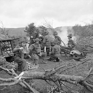 148th Infantry Brigade (United Kingdom) - A 25-pounder field gun of the 150th Field Regiment, Royal Artillery, 148th Independent Infantry Brigade Group, firing during Exercise 'Dragoon' in the Sperrin Mountains near Draperstown in Northern Ireland, 1 April 1942.