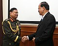 The Chief of Army Staff, Bangladesh Army, General Aziz Ahmed meeting the Minister of State for Defence, Dr. Subhash Ramrao Bhamre, in New Delhi on August 01, 2018.JPG