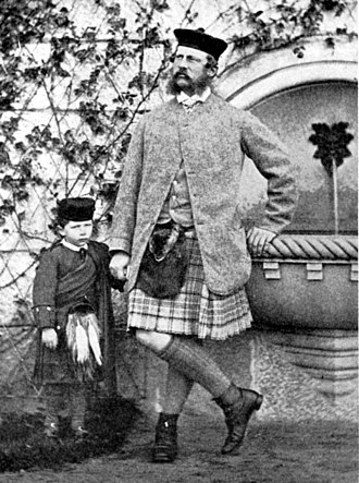 Wilhelm II, German Emperor - Wilhelm with his father, in Highland dress, in 1862
