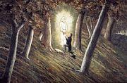 O anjo Morôni, na Colina Cumorah, Nova York, entrega a Joseph Smith Jr. as placas de ouro em 1823
