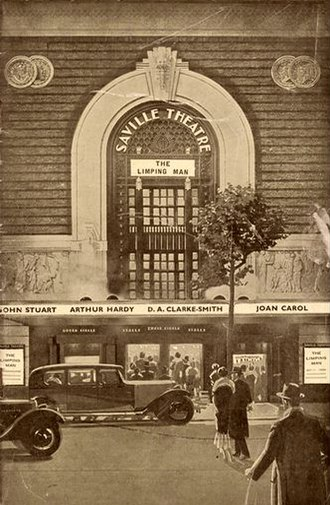 Saville Theatre - Illustration from theatre programme of 1936 based on a photo of the Saville Theatre, featuring the play The Limping Man, a 1931 play by William Matthew Scott.