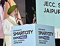 The Minister of State for Housing and Urban Affairs (IC), Shri Hardeep Singh Puri addressing the inaugural session of the Smart City Expo India 2018, in Jaipur, Rajasthan on September 26, 2018.JPG