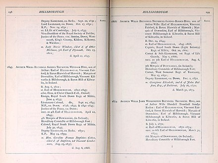 Page from The Official Baronage of England Volume 2 The Official Baronage of England, v. 2 (1886) Marquess of Downshire pp.198-199.jpg