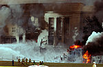 The Pentagon in flames moments after a hijacked jetliner crashed into building at approximately 0930 on September 11, 2001 010911-M-CI426-023.jpg