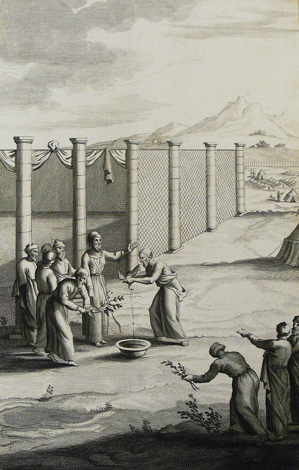 The Phillip Medhurst Picture Torah 543. Cleansing the leper. Leviticus cap 14 vv 4-7. Gunst