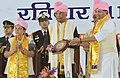 The President, Shri Ram Nath Kovind at the Convocation of Jiwaji University, at Gwalior, Madhya Pradesh on February 11, 2018. The Governor of Madhya Pradesh, Smt. Anandiben Patel is also seen.jpg