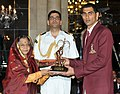 The President, Smt. Pratibha Devisingh Patil presenting the Arjuna Award for the year-2011 to Shri Sanjay Kumar for Volleyball, in a glittering ceremony, at Rashtrapati Bhavan, in New Delhi on August 29, 2011.jpg