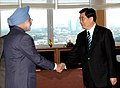 The Prime Minister, Dr Manmohan Singh meeting with the President of the People's Republic of China, Mr. Hu Jintao, on the sidelines of G-8 Summit at Berlin in Germany on June 07, 2007.jpg