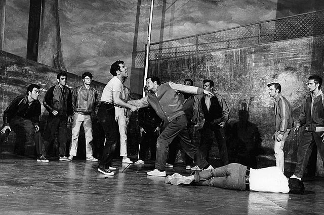 The Rumble from West Side Story (1957) This work is in the public domain because it was published in the United States between 1923 and 1977 and without a copyright notice.