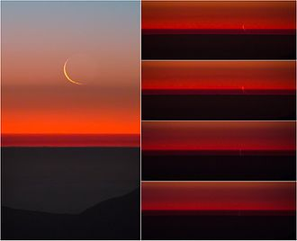 Atmospheric refraction - The atmosphere refracts the image of a waxing crescent Moon as it sets into the horizon.