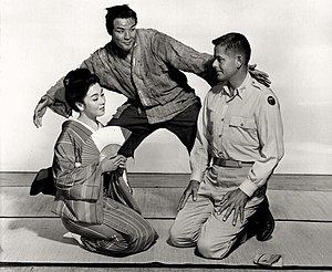 The Teahouse of the August Moon (film) - Machiko Kyō, Marlon Brando and Glenn Ford in The Teahouse of the August Moon