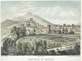 The Town Of Conway: Its Church, Plas Mawr, Wall, Tower, &c, as seen from the battlement of the castle