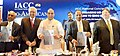 The Union Home Minister, Shri Rajnath Singh releasing a report by KPMG at the inaugural session of the Indo-American Chamber of Commerce National Conclave-2016, in Hyderabad.jpg