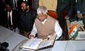 The Union Minister for Railways, Shri Lalu Prasad giving finishing touches to the Railway Budget 2007-08, in New Delhi on February 25, 2007.jpg