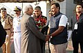 The Vice President, Shri M. Hamid Ansari being bid farewell by the Minister of Education of Maharashtra, Shri Vinod S. Tawde, in Mumbai on December 28, 2016.jpg