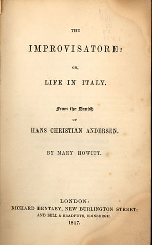 The Improvisatore - Title page of the first English edition
