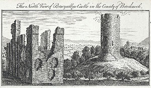 Bronllys - North view of the castle in 1740