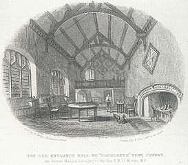 The old entrance hall to Gloddaeth near Conway: an ancient mansion belonging to the Hon. E. M. Ll. Mostyn M. P