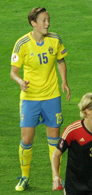 Therese Sjögran - Sjögran playing for Sweden in their UEFA Women's Euro 2013 semi-final against Germany