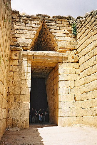 "Atreus - Entrance to the tholos known as the ""Treasury of Atreus"", built around 1250 BC."