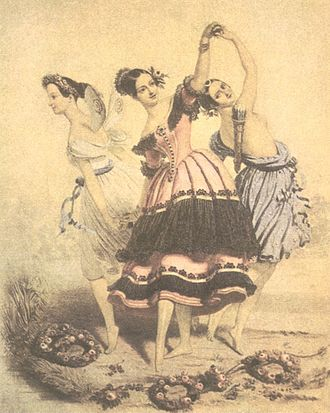 Romantic ballet - The Three Graces: embodiment of the Romantic ballet, ca. 1840. This lithograph by A. E. Chalon depicts three of the greatest ballerinas in three of the era's defining roles: (left to right) Marie Taglioni as the Sylph in Filippo Taglioni's 1832 ballet La Sylphide; Fanny Elssler as Florinda in the dance La Cachucha from Jean Coralli's 1836 ballet Le Diable boiteux; and Carlotta Grisi as Béatrix in the Grand pas de Diane chasseresse from Albert's 1842 ballet La Jolie Fille du Gand.