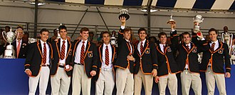 Princeton Tigers - The varsity lightweight men celebrate winning the Temple Cup at Henley Royal Regatta, July 2009.