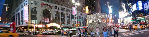 A panorama of Times Square.