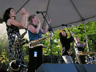 The Billy Tipton Memorial Saxophone Quartet - The Tiptons at Bumbershoot 2008. Left to right: Jessica Lurie, Amy Denio, Sue Orfield, Tina Richerson