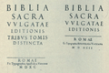 Title pages of the Sixtine (1590) and the Clementine (1592) Vulgate.png