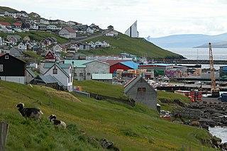 Toftir Village in Faroe Islands, Kingdom of Denmark